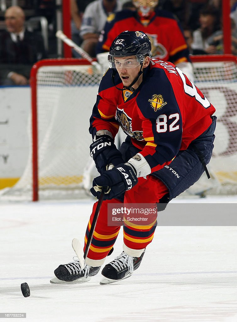 Tomas Kopecky #82 of the Florida Panthers skates for the puck against the Toronto Maple Leafs at the BB&T Center on April 25, 2013 in Sunrise, Florida.