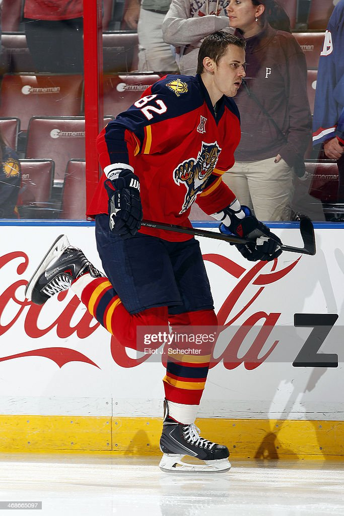 Tomas Kopecky of the Florida Panthers skates on the ice prior to the start of the game against the Detroit Redwings at the BBT Center on February 6...