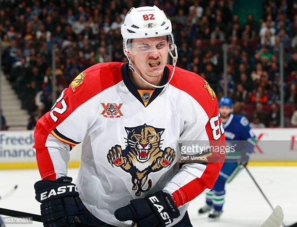 Tomas Kopecky of the Florida Panthers skates to the bench during the NHL game against the Vancouver Canucks at Rogers Arena on November 19 2013 in...