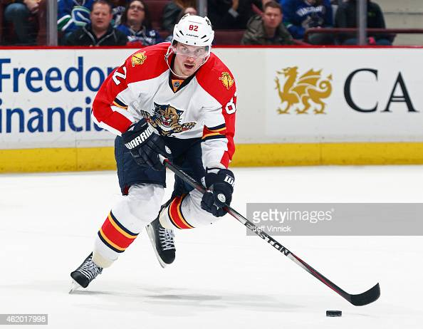 Tomas Kopecky of the Florida Panthers skates up ice with the puck during their NHL game against the Vancouver Canucks at Rogers Arena January 8 2015...