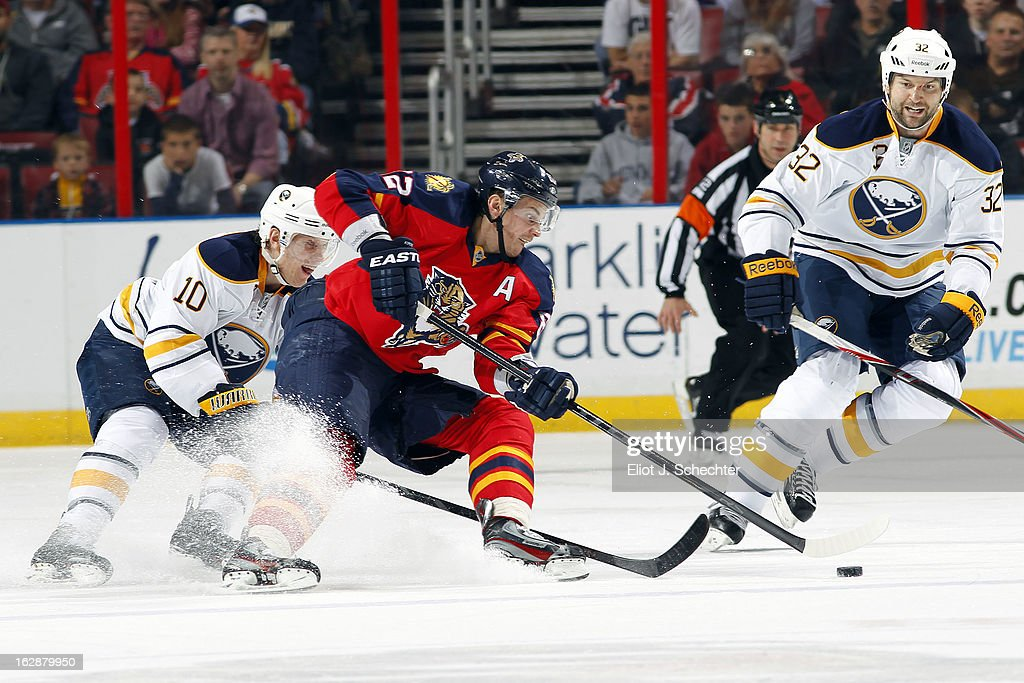 Tomas Kopecky #82 of the Florida Panthers skates with the puck against Christian Ehrhoff #10 of the Buffalo Sabres at the BB&T Center on February 28, 2013 in Sunrise, Florida.