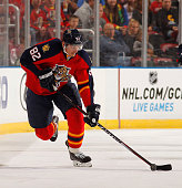 Tomas Kopecky of the Florida Panthers skates with the puck against the New Jersey Devils at the BBT Center on October 11 2014 in Sunrise Florida