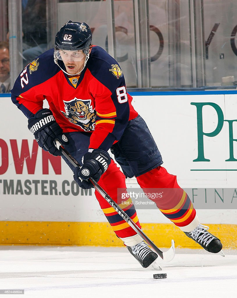 Tomas Kopecky of the Florida Panthers skates with the puck against the Detroit Red Wings at the BBT Center on January 27 2015 in Sunrise Florida