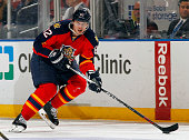 Tomas Kopecky of the Florida Panthers skates with the puck against the Dallas Stars at the BBT Center on March 5 2015 in Sunrise Florida