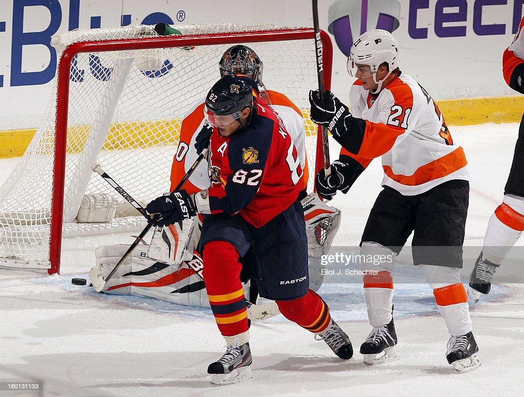 <a gi-track='captionPersonalityLinkClicked' href=/galleries/search?phrase=Tomas+Kopecky&family=editorial&specificpeople=2234349 ng-click='$event.stopPropagation()'>Tomas Kopecky</a> #82 of the Florida Panthers takes a back hand shot against <a gi-track='captionPersonalityLinkClicked' href=/galleries/search?phrase=Scott+Laughton&family=editorial&specificpeople=8050728 ng-click='$event.stopPropagation()'>Scott Laughton</a> #21 of the Philadelphia Flyers at the BB&T Center on January 26, 2013 in Sunrise, Florida.