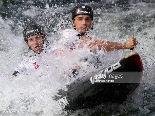 Tomas Koplik and Jakub Vrzan of The Czech Republic compete during the Canoe Double Men's Semifinal of the ICF Canoe Slalom World Cup on June 24 2017...