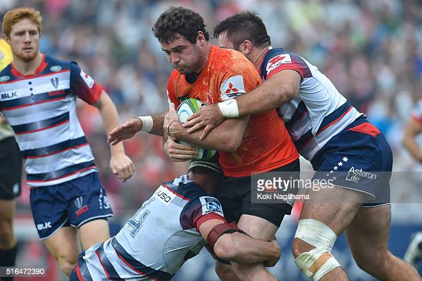 Tomas Leonardi is tackled during the Super Rugby Rd 4 match between the Sunwolves and the Rebels of at Prince Chichibu Stadium on March 19 2016 in...