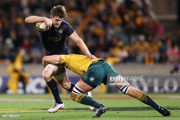 Tomas Lezana of Argentina is tackled during The Rugby Championship match between the Australian Wallabies and the Argentina Pumas at Canberra Stadium...