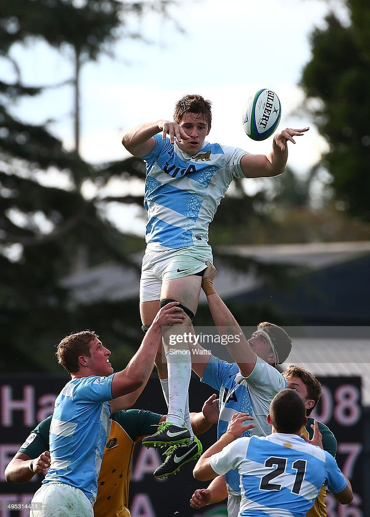 Tomas Lezana of Argentina wins a lineout during the 2014 Junior World Championships match between Argentina and Australia at ECOLight Stadium, Pukekohe on June 2, 2014 in Auckland, New Zealand.
