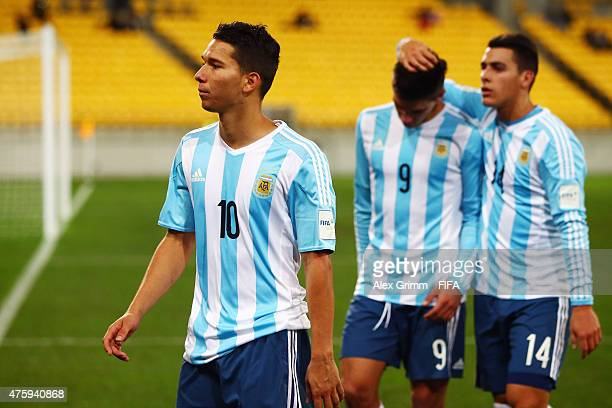 Tomas Martinez Giovanni Simeone and Cristian Pavon of Argentina react after the FIFA U20 World Cup New Zealand 2015 Group B match between Austria and...