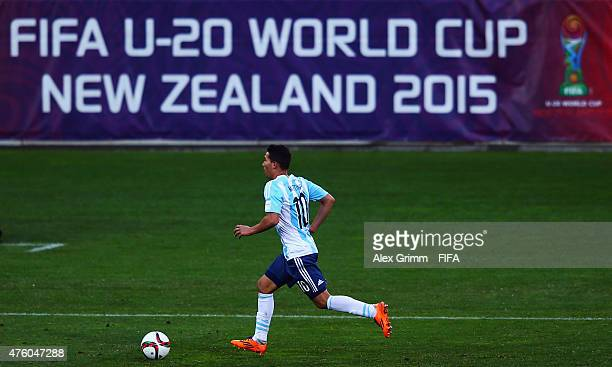 Tomas Martinez of Argentina controles the ball during the FIFA U20 World Cup New Zealand 2015 Group B match between Austria and Argentina at...