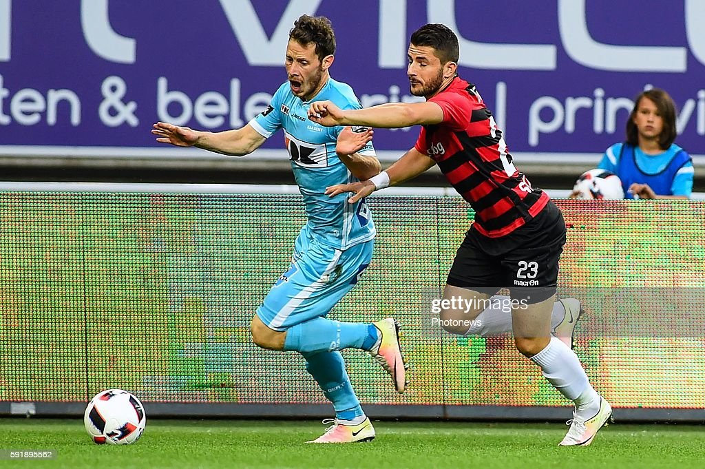 Tomas Matton and Besir Demiri during the Uefa Europa League match between KAA Gent and KF Shkendija In the Ghelamco Arena Gent Belgium via Getty...