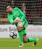 Tomas Mejias the Middlesbrough goalkeeper throws the ball during the pre season friendly match between York City and Middlesbrough at Bootham...