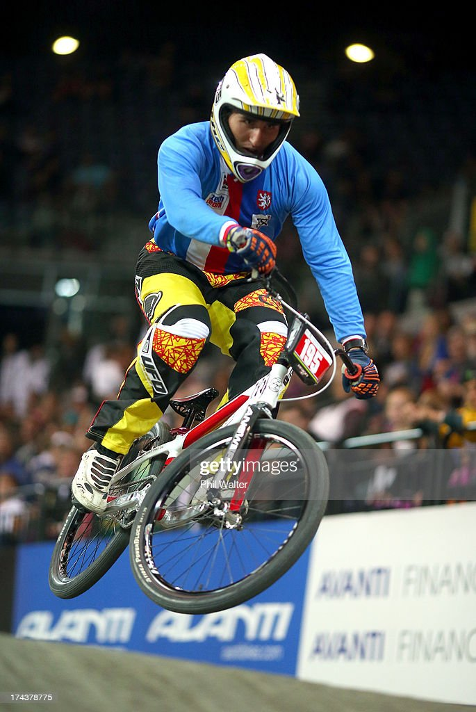 Tomas Merta of the Czech Republic clears a jump during day two of the UCI BMX World Championships at Vector Arena on July 25, 2013 in Auckland, New Zealand.