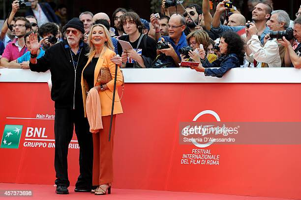 Tomas Milian and Barbara Bouchet pose on The Red Carpet with the Marc Aurelio Acting Award during the 9th Rome Film Festival on October 17 2014 in...