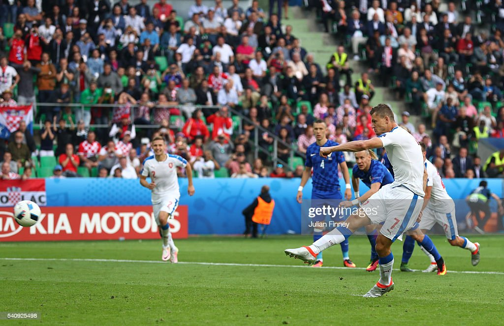 Tomas Necid of Czech Republic scores from the penalty spot to make the score 2-2 during the UEFA EURO 2016 Group D match between Czech Republic and Croatia at Stade Geoffroy-Guichard on June 17, 2016 in Saint-Etienne, France.