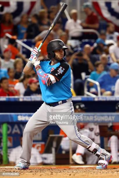 Tomas Nido of the World Team bats during the SirusXM AllStar Futures Game at Marlins Park on Sunday July 9 2017 in Miami Florida