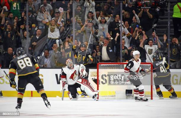 Tomas Nosek of the Vegas Golden Knights scores the first franchise goal at home against the Arizona Coyotes during the Golden Knights' inaugural...