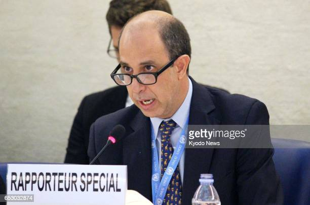 Tomas Ojea Quintana the UN special rapporteur on North Korea speaks at a session of the UN Human Rights Council in Geneva Switzerland on March 13...