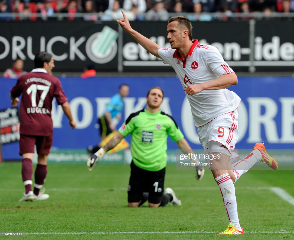 Tomas Pekhart of Nuernberg celebrates after scoring his teams second goal during the Bundesliga match between 1FC Kaiserslautern and FC Nuernberg at...