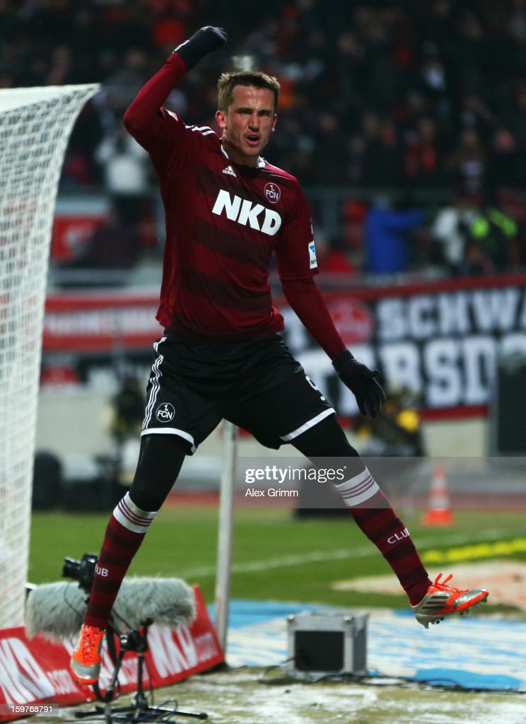 Tomas Pekhart of Nuernberg celebrates his team's first goal during the Bundesliga match between 1. FC Nuernberg and Hamburger SV at Easy Credit Stadium on January 20, 2013 in Nuremberg, Germany.