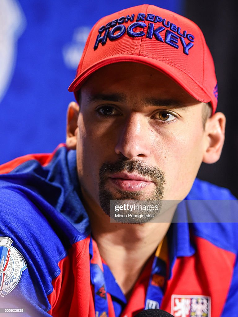 Tomas Plekanec #14 of Team Czech Republic answers questions during Media day at the World Cup of Hockey 2016 at Air Canada Centre on September 15, 2016 in Toronto, Ontario, Canada.