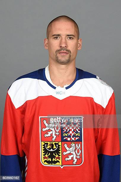 Tomas Plekanec of Team Czech Republic poses for his official World Cup of Hockey head shot at the Czech Ice Hockey Association on September 5 2016 in...