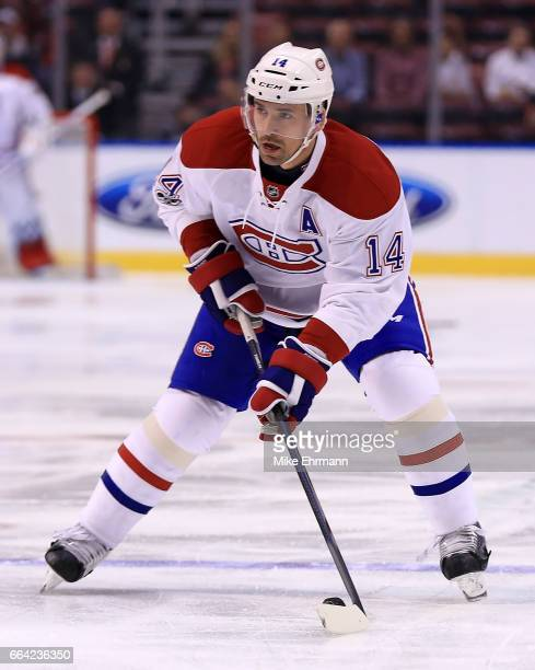 Tomas Plekanec of the Montreal Canadiens carries the puck during a game against the Florida Panthers at BBT Center on April 3 2017 in Sunrise Florida