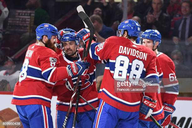 Tomas Plekanec of the Montreal Canadiens celebrates his goal against the Chicago Blackhawks in the NHL game at the Bell Centre on October 10 2017 in...