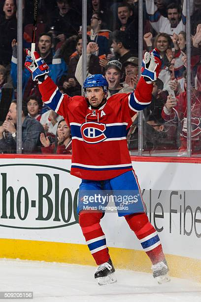 Tomas Plekanec of the Montreal Canadiens celebrates his goal in the second period during the NHL game against the Edmonton Oilers at the Bell Centre...