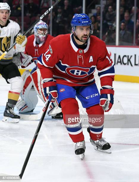 Tomas Plekanec of the Montreal Canadiens defends against the Vegas Golden Knights in the NHL game at the Bell Centre on November 7 2017 in Montreal...