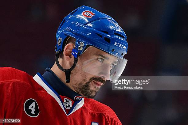 Tomas Plekanec of the Montreal Canadiens looks on in the warmup period prior to Game One of the Eastern Conference Semifinals against the Tampa Bay...