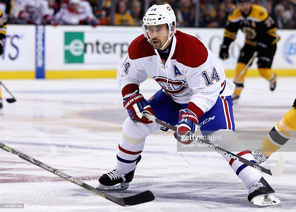 Tomas Plekanec of the Montreal Canadiens plays in the game against the Boston Bruins at TD Garden on October 10 2015 in Boston Massachusetts