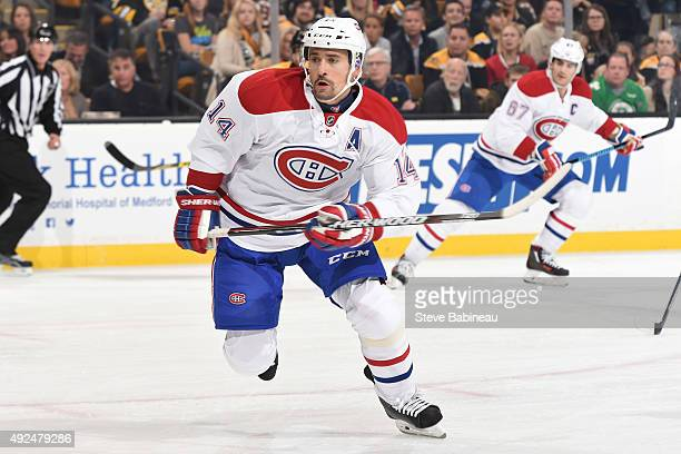 Tomas Plekanec of the Montreal Canadiens skates against the Boston Bruins at the TD Garden on October 10 2015 in Boston Massachusetts