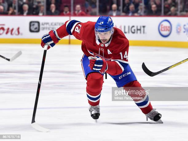 Tomas Plekanec of the Montreal Canadiens skates against the Los Angeles Kings during the NHL game at the Bell Centre on October 26 2017 in Montreal...