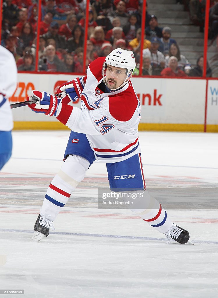 Tomas Plekanec of the Montreal Canadiens skates against the Ottawa Senators at Canadian Tire Centre on March 19 2016 in Ottawa Ontario Canada