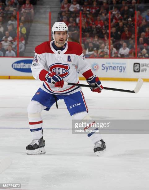 Tomas Plekanec of the Montreal Canadiens skates against the Ottawa Senators at Canadian Tire Centre on October 30 2017 in Ottawa Ontario Canada