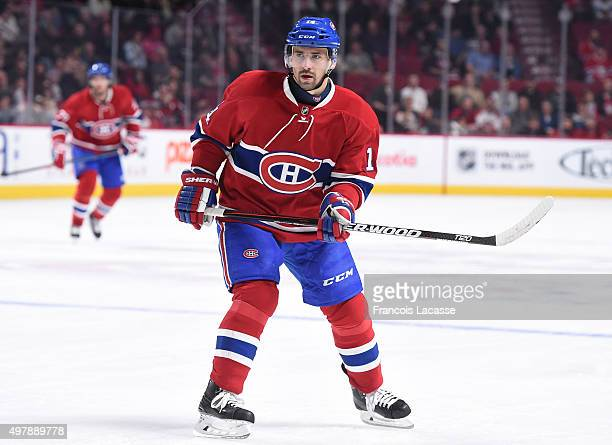 Tomas Plekanec of the Montreal Canadiens skates against theColorado Avalanche in the NHL game at the Bell Centre on November 14 2015 in Montreal...