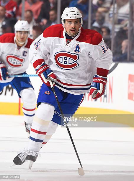 Tomas Plekanec of the Montreal Canadiens skates during NHL game action against the Toronto Maple Leafs October 7 2015 at Air Canada Centre in Toronto...