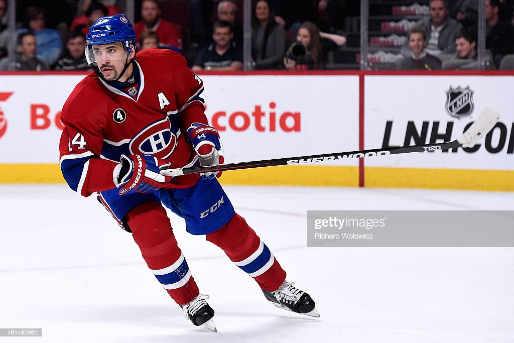 Tomas Plekanec of the Montreal Canadiens skates during the NHL game against the Pittsburgh Penguins at the Bell Centre on January 10 2015 in Montreal...
