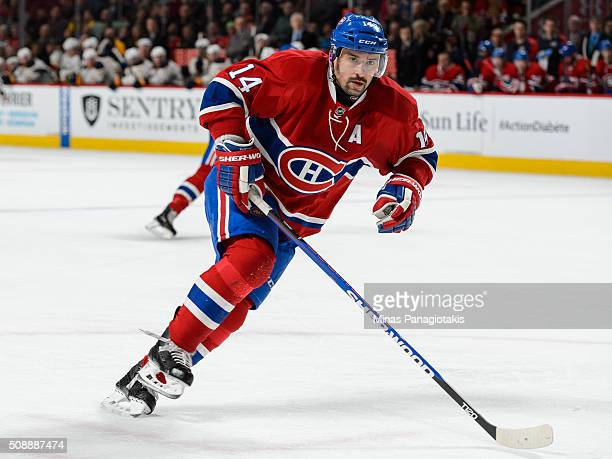 Tomas Plekanec of the Montreal Canadiens skates during the NHL game against the Buffalo Sabres at the Bell Centre on February 3 2016 in Montreal...