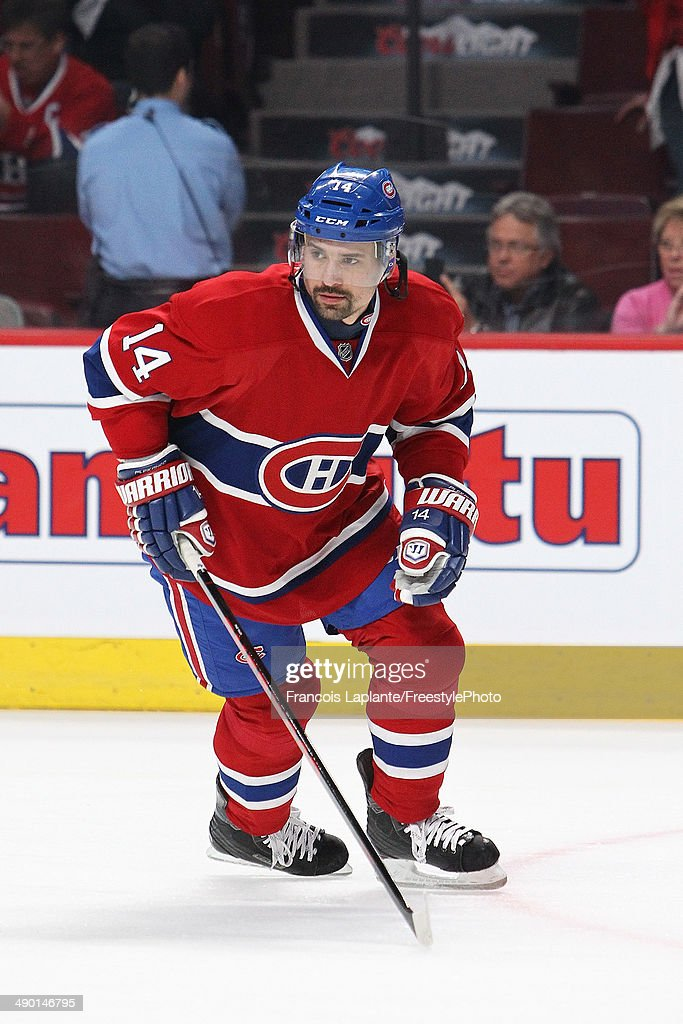 Tomas Plekanec of the Montreal Canadiens skatesduring warmup prior to Game Four of the Second Round of the 2014 NHL Stanley Cup Playoffs against the...