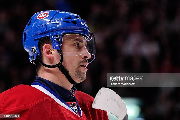 Tomas Plekanec of the Montreal Canadiens waits for a faceoff during the NHL game against the Buffalo Sabres at the Bell Centre on March 19 2013 in...