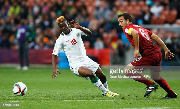 Tomas Podstawski of Portugal and Mamadou Thiam of Senegal battle for the ball during the FIFA U20 World Cup New Zealand 2015 Group C match between...