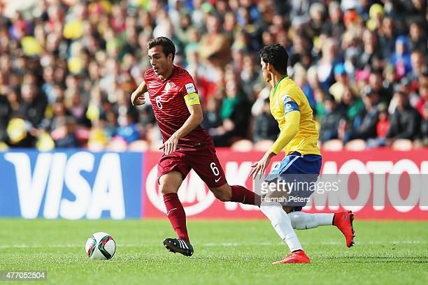 Tomas Podstawski of Portugal makes a break during the FIFA U20 World Cup New Zealand 2015 quarter final match between Brazil and Portugal held at...