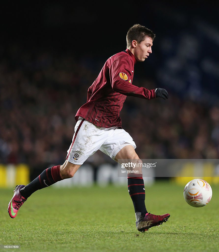 Tomas Prikryl of Sparta Praha in action during the UEFA Europa League Round of 32 second leg match between Chelsea and Sparta Praha at Stamford Bridge on February 21, 2013 in London, England.