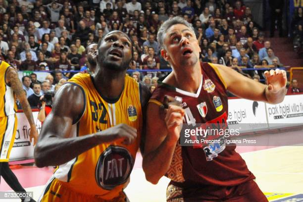 Tomas Ress of Umana competes with Trevor Mbakwe of Fiat during the LBA LegaBasket of Serie A match between Reyer Umana Venezia and Auxilium Fiat...