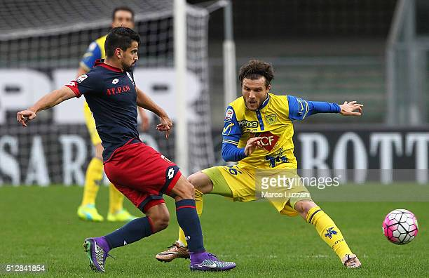 Tomas Rincon of Genoa CFC competes for the ball with Perparim Hetemaj of AC Chievo Verona during the Serie A match between AC Chievo Verona and Genoa...