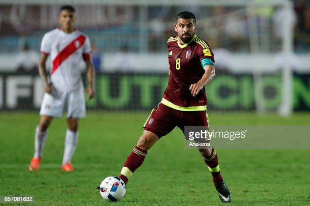 Tomas Rincon of Venezuela drives the ball during a match between Venezuela and Peru as part of FIFA 2018 World Cup Qualifiers at Monumental de...
