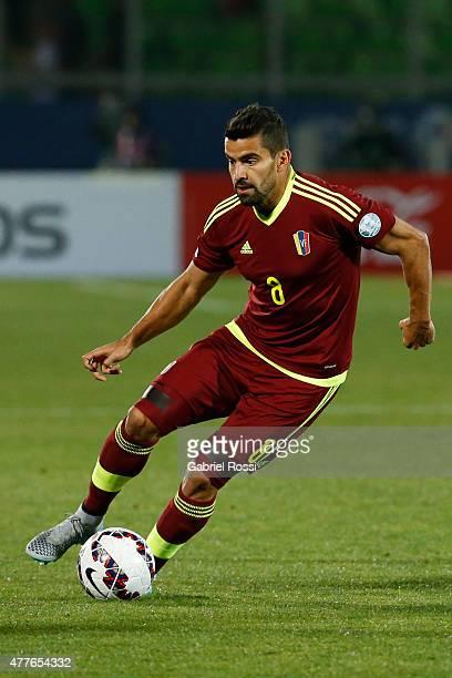 Tomas Rincon of Venezuela drives the ball during the 2015 Copa America Chile Group C match between Peru and Venezuela at Elías Figueroa Brander...